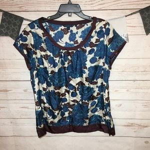 Boden Floral Silky Blouse Size 18